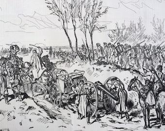 1877 Russo Turkish War Sketch Original Antique Engraving, Illustrated London News, 19th Century History, Victorian Art, Wall Decor