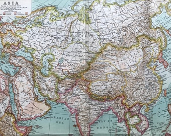 1911 Asia Original Antique Map showing Colonial Powers - Asian History