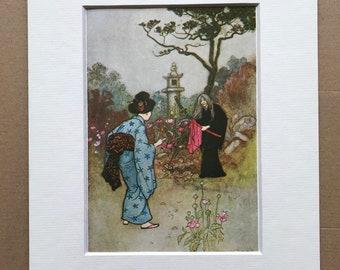 1979 Japanese Fairytale Illustration Original Vintage Print - The Nurse - Japan - Mounted and Matted - Available Framed