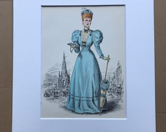 1949 Original Vintage Fashion Illustration - 1893-94 - The Pursuit of Fashion - Mounted and Matted - Available Framed