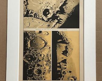 1888 Original Antique Lithograph - Lunar Landscape - Sun Surface - Mountains - Celestial Art - Astronomy - Astrology - Victorian Wall Decor