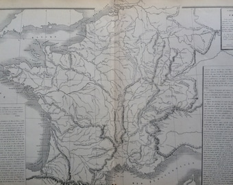 1866 FRANCE Physical Map -  large original antique map - French Atlas Map
