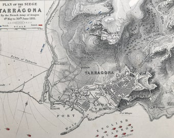 1875 Plan of the Siege of Tarragona, 1811 Original Antique Map - French Army of Aragon - Battle Map - Military History - Available Framed