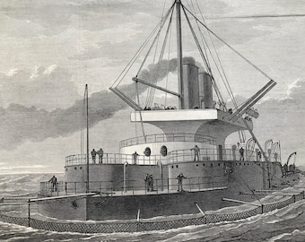 1877 HMS Thunderer fitted with nettings for protection against torpedoes Original Antique Engraving - Available Framed - Military Decor