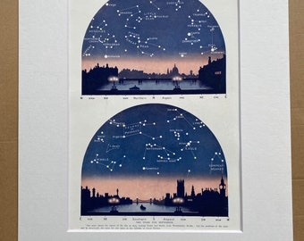 1923 September Stars over London Original Antique Print - Mounted and Matted - Available Framed - Astronomy - Star Map