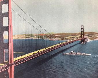 1943 Golden Gate Bridge, San Francisco Original Vintage Photo Print - California - Railway - Available Framed