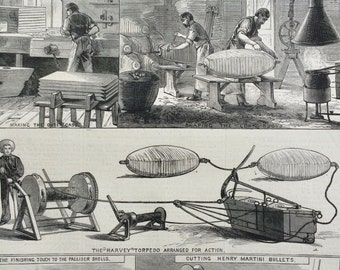 1877 Manufacture of War Materials at the Royal Arsenal, Woolwich antique print from engraving, Illustrated London News, 19th Century History