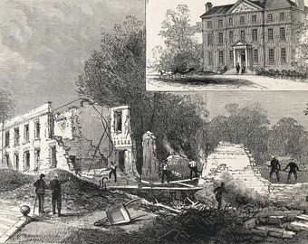 1883 Scene of the Disastrous Fire at the Private Lunatic Asylum at Southall Original Antique Print - Mounted and Matted - Available Framed