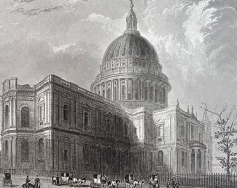 1836 St Pauls Cathedral - North Eastern View Original Antique Engraving - London - Architecture - Mounted and Matted - Available Framed