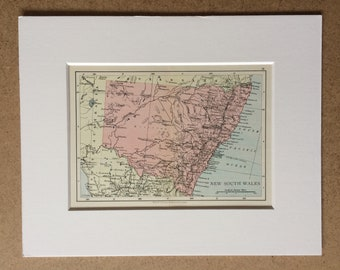 1895 New South Wales Original Antique World Map - Mounted and Matted - 8 x 10 inches - Framed Map - Framed Vintage Art
