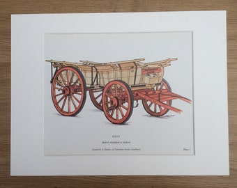1978 Kent Farm Waggon Large Original Vintage Print - Mounted and Matted - Agriculture - Gift for Farmer - Vintage Wall Decor