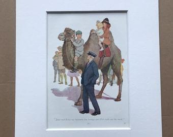 1919 Camel Ride Original Vintage Margaret W. Tarrant Illustration - Zoo - Animal Art - Available Framed - Nursery Decor - Children's Book