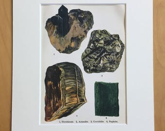 1916 Minerals Original Antique Lithograph - Mounted and Matted - 8 x 10 inches - Hornblende, Actinolite, Crocidolite, Nephrite - Mineralogy