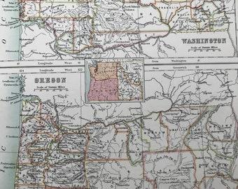 1898 Washington and Oregon Large Original Antique A & C Black Map - WA - OR - US State - Victorian Wall Decor - Wedding Gift Idea