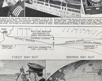 1940s Finding the way Across the Ocean Original Vintage Print - Navigation - Compass - Mounted and Matted - Available Framed