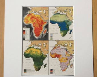 1935 Africa (Population, Vegetation, Rainfall & Heights and Depths) Original Vintage Print - Available Framed - 10 x 12 inches