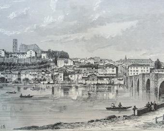 1895 Limoges Original Antique Engraving - Mounted and Matted - France - River - Bridge - Available Framed