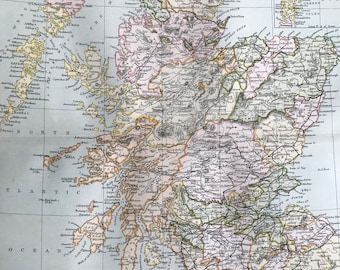 1891 Scotland Original Antique Map - 9 x 12 inches - Vintage Wall Map - Scottish History