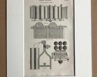 1858 Cotton Spinning - Plan of Scutching Machine and Drawing Frame Original Antique Engraving - Victorian Technology - Available Framed