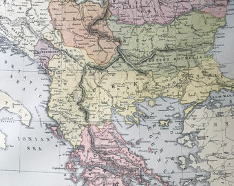1904 Turkey in Europe - Greece, Romania, Serbia, Montenegro & Bulgaria Original Antique Map - Available Mounted and Matted - Balkans Map