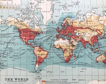 1912 The World on Mercator's Projection Original Antique Map - Mounted and Matted - Available Framed