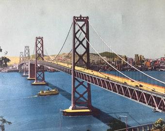 1943 San Francisco-Oakland Bay Bridge (from Yerba Buena Island) Original Vintage Photo Print - California - Railway - Available Framed