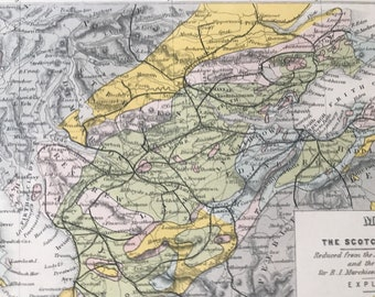 1891 Map of the Scotch Coal Fields Original Antique Print - Scotland - Coal Mining Map - Available Framed