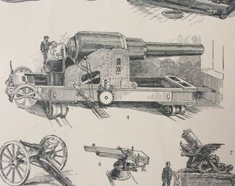 1900 Guns Original Antique Print - Mounted and Matted - 10 x 12 inches - Weapon - Firearms - Mortar - Military Wall Decor - Available Framed