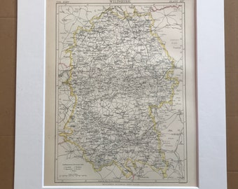 1875 Wiltshire Original Antique Map - English County Map - Unique Gift Idea - Available Framed - England - Wall Map