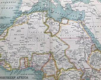 1912 Northern Africa Original Antique Map - Morocco, Algeria, Libya, Egypt, Sudan, Ethiopia, Nigeria - Mounted and Matted - Available Framed