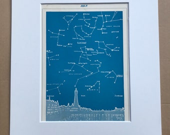 1940s July Star Map seen over Blackpool Original Vintage Print - Mounted and Matted - Astronomy - Celestial Art - Available Framed