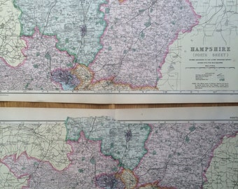 1907 HAMPSHIRE Set of 2 Large Original Antique Maps, 20.5 x 13.5 inches each, historical wall decor, George W Bacon maps