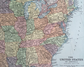 1920 UNITED STATES (East) Original Vintage Map, 12 x 14.5 inches, historical wall decor, Stanford Atlas, Home Decor, Cartography, Geography