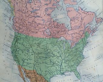 1859 NORTH AMERICA Original Antique Map, 10.5 x 13.5 inches, historical wall decor, A K Johnson Atlas, Home Decor, Cartography, Geography