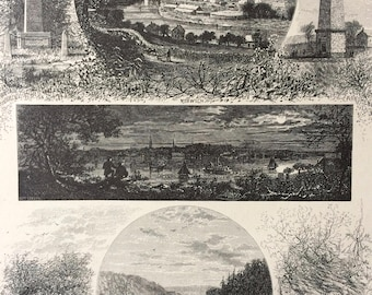 1874 New London and Norwich, Connecticut Original Antique Wood Engraving - Mounted and Matted - Obelisk - United States
