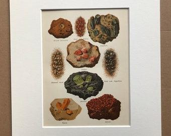 1891 Original Antique Lithograph - Gems - Emerald - Ruby - Diamond - Sapphire - Garnet - Topaz - Precious Stones - Available Framed