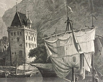 1876 The Walkendorff Tower, Bergen Original Antique Wood Engraving - Mounted and Matted - Norway - Decorative Art - Available Framed