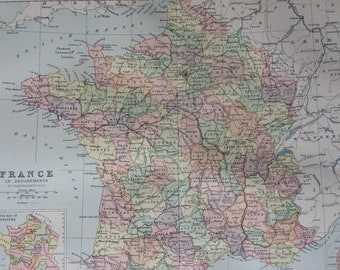 1900 France in Departments Original Antique Map - 10 x 12 inches - Wall Map -  Cartography - Home Decor