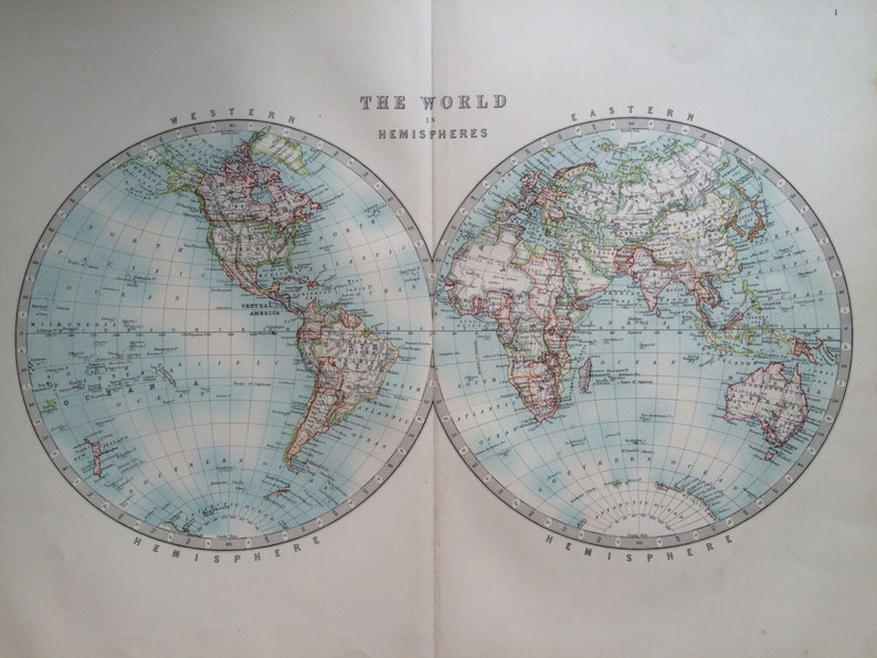 1907 THE WORLD In HEMISPHERES Large Original Antique Map
