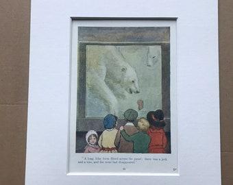 1919 Polar Bear Original Vintage Margaret W. Tarrant Illustration - Animal Art - Available Framed - Nursery Decor - Children's Book