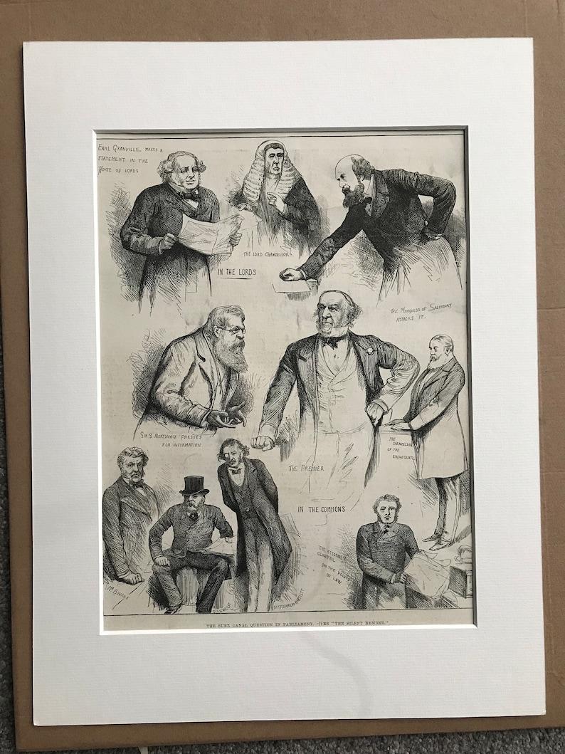 1883 The Suez Canal Question in Parliament Original Antique Engraving Parliament Politics Egypt