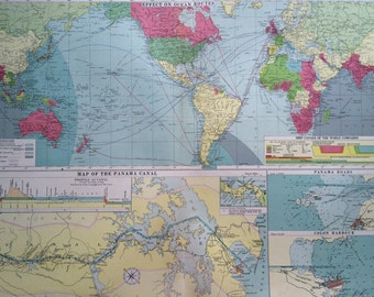 1920 The Panama Canal mercantile marine map -effect on ocean routes - extra large original vintage map - 29.5 x 20.5 inches