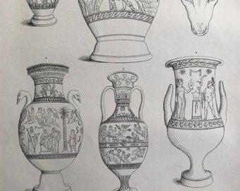 1858 Etruscan Vases Original Antique Engraving - Victorian Decor - Etruscan Civilisation - Tuscany - Italy - Available Framed