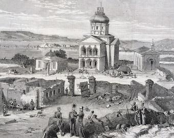 1855 The Street of the Bell, Sebastopol Original Antique Engraving, Ukraine, Crimea, Victorian Decor, Landscape, Architecture, Wall Decor