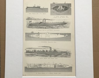 1891 Torpedoes and Torpedo Boats Original Antique Print - Military Decor - Sumarine Boat - Available Framed