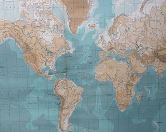 1922 Large Original Antique Times Atlas Political World Map on Mercator's Projection (Bathy-Orographical)