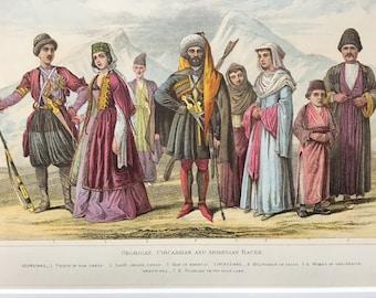 1882 Human Races - Georgian, Circassian and Armenian Original Antique Lithograph, 11 x 14 inches - Home Decor - Anthropology - Races
