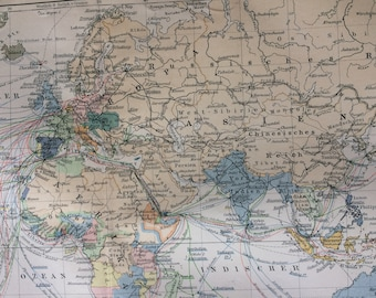 1894 Large Original Antique World Map - Transport and Colonial Powers - with inset maps of Britain and the Mediterranean