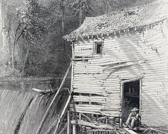 1894 Old Mill - Reem's Creek, French Broad River, North Carolina Original Antique Engraving - Mounted and Matted - Available Framed