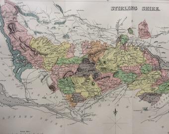 1885 Stirling Shire Original Antique Map - Scottish County, cartography, Scotland, Victorian Decor